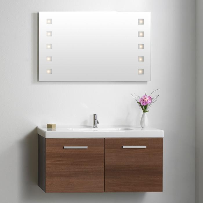 dansani luna zaro spiegel mit quadratischer integrierter beleuchtun. Black Bedroom Furniture Sets. Home Design Ideas