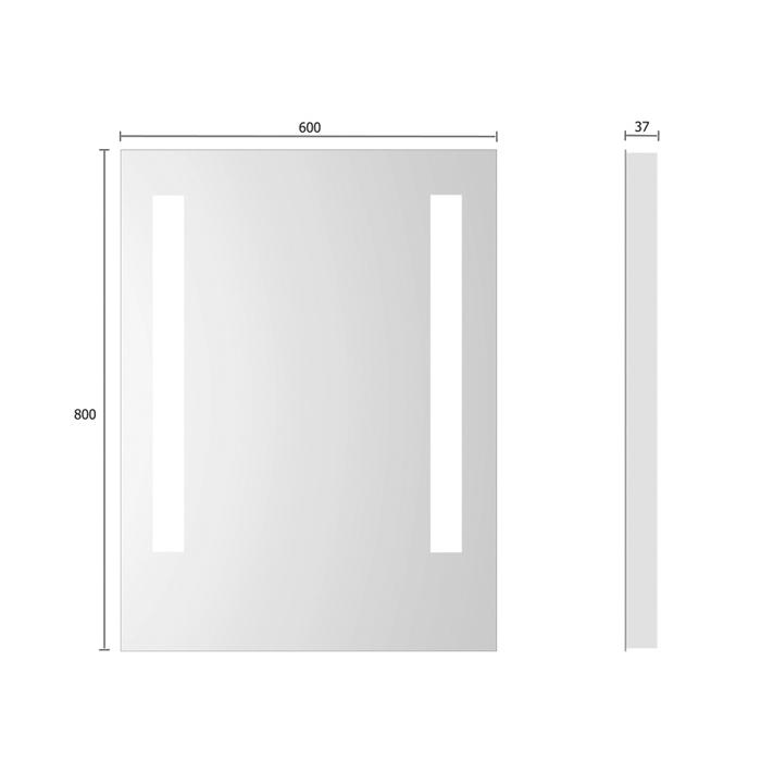 treos serie 604 spiegel mit integrierter beleuchtung 60x80cm. Black Bedroom Furniture Sets. Home Design Ideas