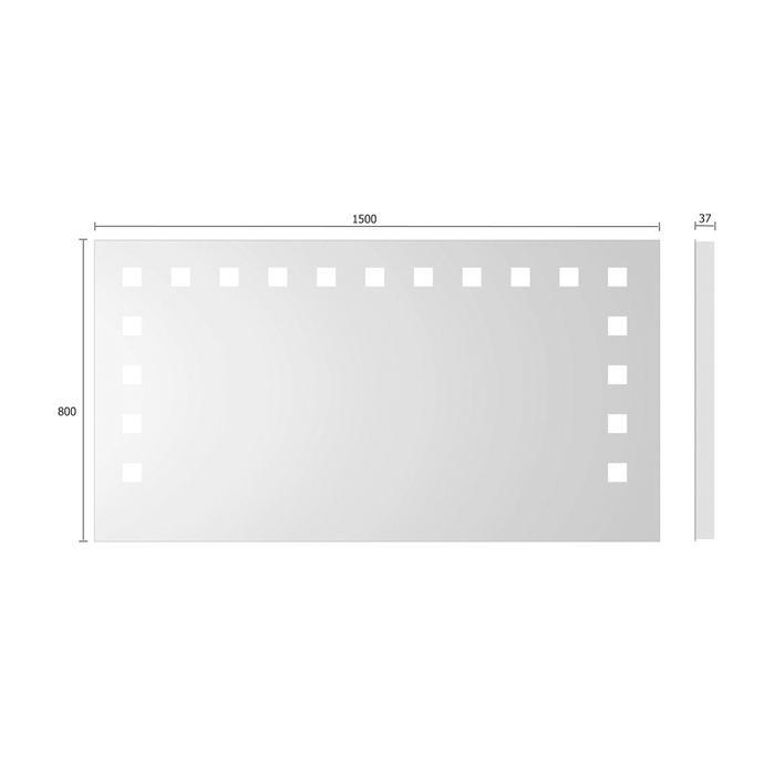 treos serie 605 spiegel mit integrierter beleuchtung 150x80cm. Black Bedroom Furniture Sets. Home Design Ideas