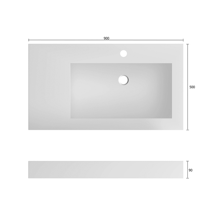 Treos Serie 700 Mineralguss Aufsatzwaschbecken 90x50cm