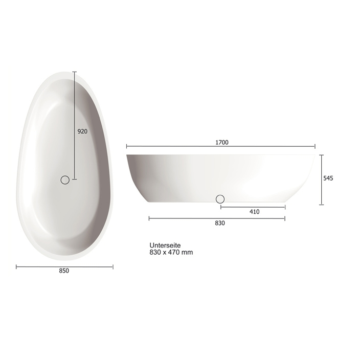treos serie 700 badewanne freistehend mineralguss 170x85x54cm. Black Bedroom Furniture Sets. Home Design Ideas