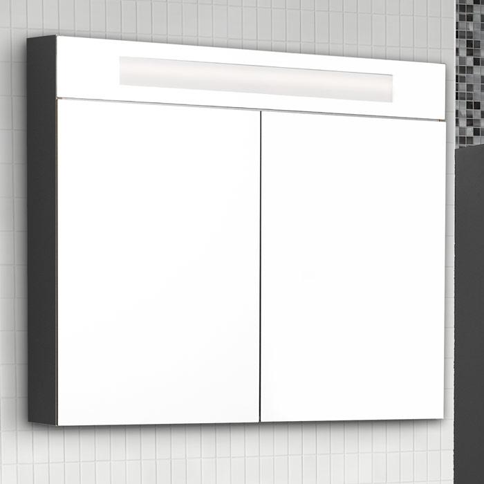 Scanbad Modern Spiegelschrank mit Beleuchtung oben integriert 2 türig
