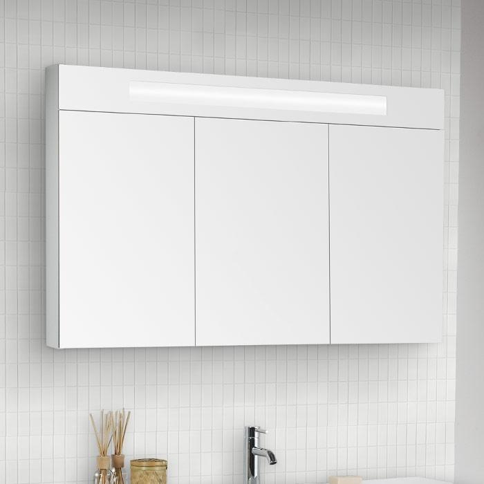 Spiegelschrank Mit Beleuchtung Und Steckdose Anschließen : Scanbad Modern Spiegelschrank mit Beleuchtung oben integriert 3türig