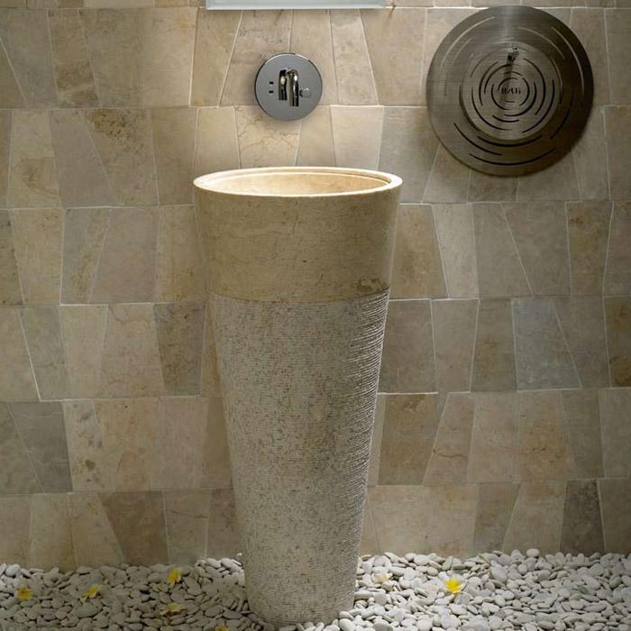 Waschbecken freistehend naturstein  Bati Zen Raja Standwaschbecken Mamor 40x40x90cm Beige satin