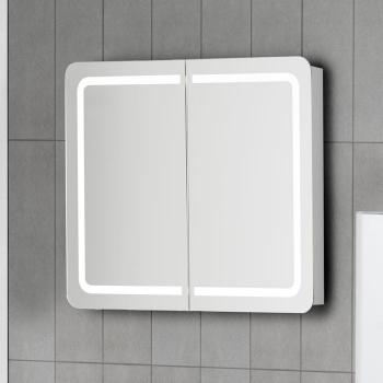 scanbad samba spiegelschrank mit led beleuchtung umlaufend integriert. Black Bedroom Furniture Sets. Home Design Ideas